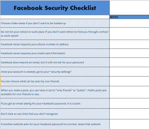 Facebook Security Checklist