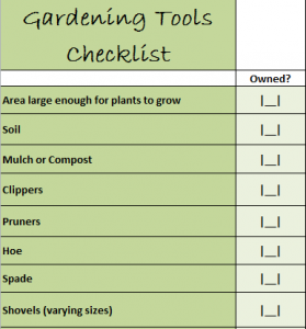 Gardening Tools Checklist