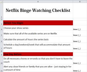 Netflix Binge Watching Checklist