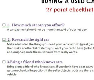 Buying a Used Car Checklist