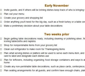Thanksgiving Preparation Countdown